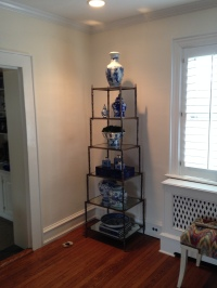 Horchow Etagere Styled with Blue and White