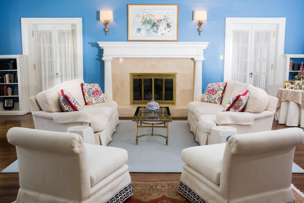 You'll never be blue in this Living Room.